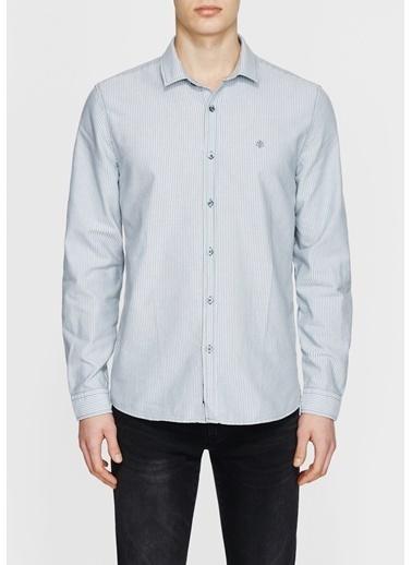 Uzun Kollu Çizgi Detaylı Slim Fit Gömlek-Mavi